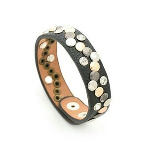 sewchicboutique Jewelry - Leather Snap Bracelet Rust or Black